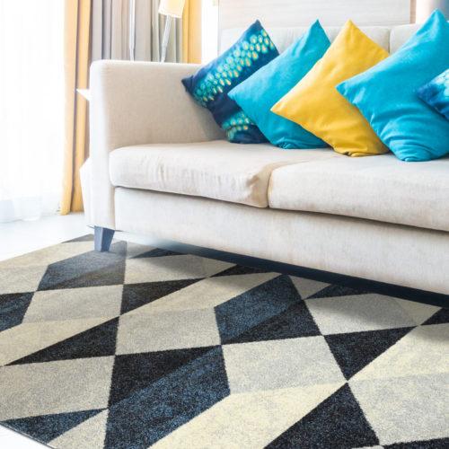 Tappeto Design Modello Art Geometric Blue